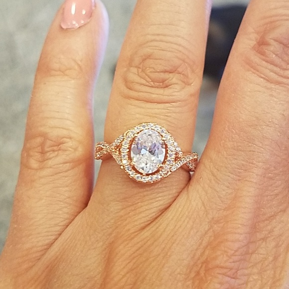 Jewelry 14k Rose Gold Plated 1ct Oval Cz Engagement Ring 7 Poshmark